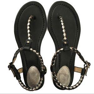 Frye Madison Braided Sandals in Black Metallic 5.5